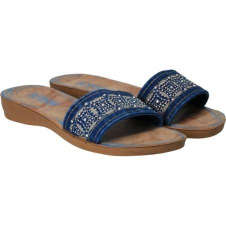 Papuci jeans cu strasuri, culoarea albastra