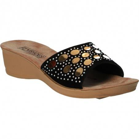 Saboti negri cu cercuri aurii, marca Fly Shoes