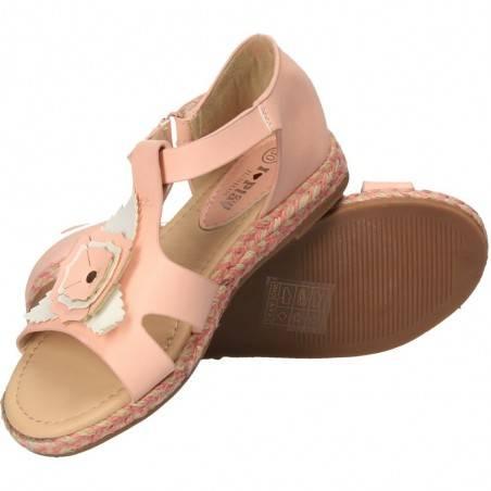 Sandale roz cu floare pentru fete