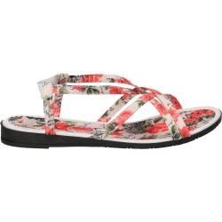 Sandale florale, rosii, din panza, pentru femei
