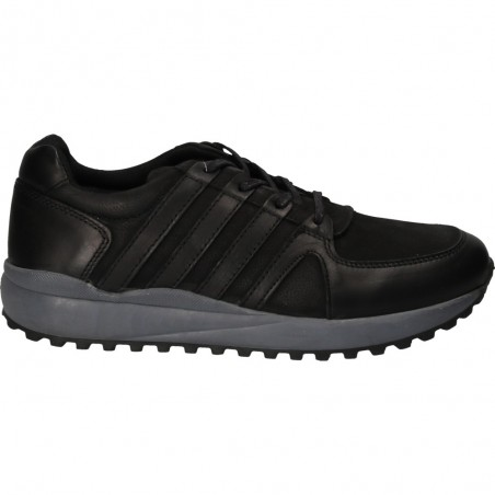 Sneakers negri, piele naturala, pentru barbati