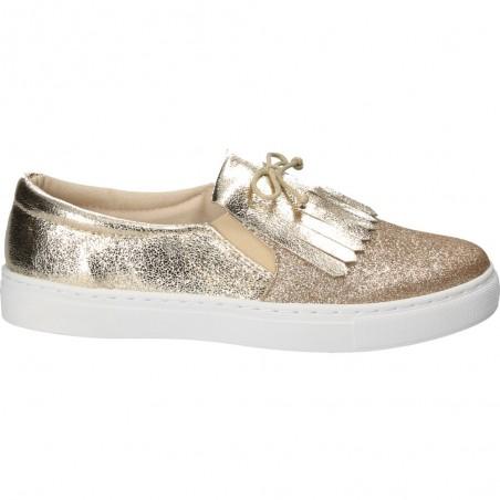 Pantofi de dama, casual aurii, cu franjuri