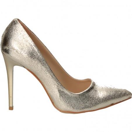 Pantofi de gala, aurii, cu toc stiletto