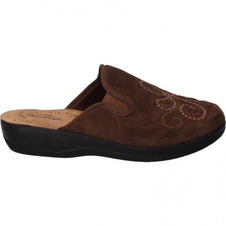 Papuci maro, broderie florala, pentru femei