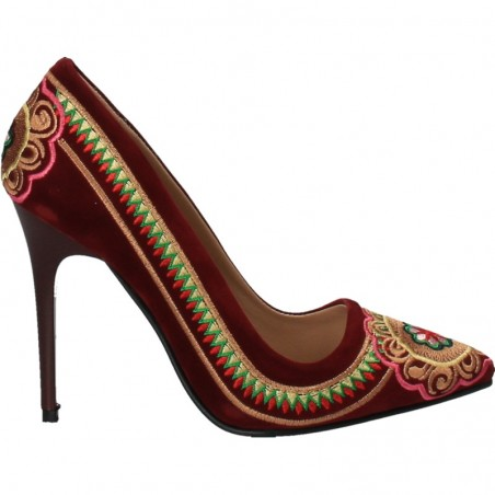Pantofi eleganti, catifea, broderie traditionala
