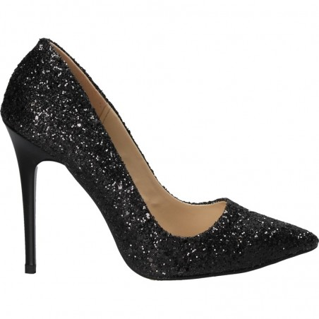 Pantofi eleganti, cu toc inalt, cu sclipici