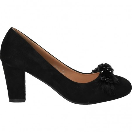 Pantofi fashion, negri, cu toc mediu