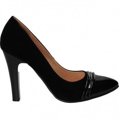 Pantofi eleganti, negri, cu toc robust