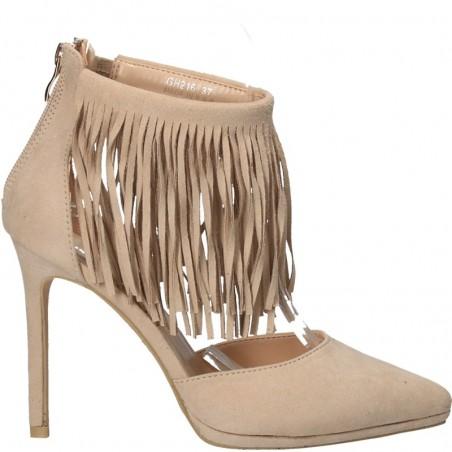 Pantofi trendy, cu franjuri si toc inalt