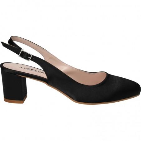 Pantofi satin, eleganti, toc mic, Sasi Lory