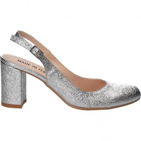 Pantofi glamour, toc mediu, argintii