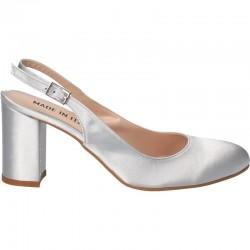 Pantofi satin argintii