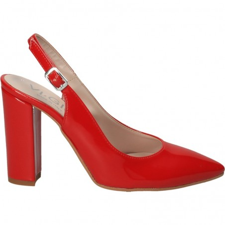 Pantofi trendy, rosii, cu bot ascutit