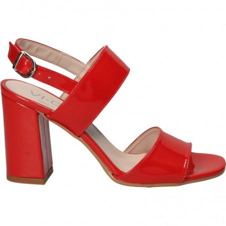 Sandale rosii, de lac, cu toc mediu