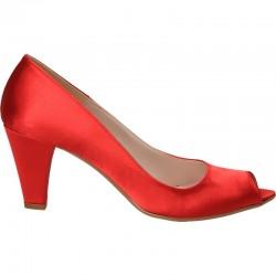 Pantofi din satin rosu