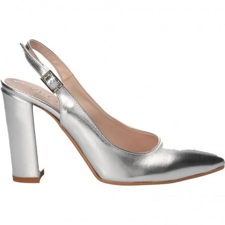 Pantofi trendy, argintii, cu toc inalt