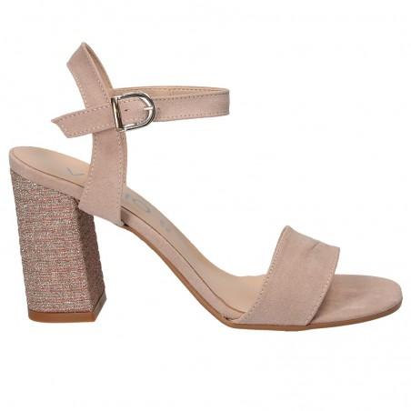 Sandale glamour, roz, cu toc mediu-inalt