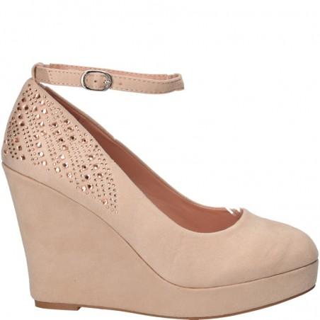 Pantofi fashion, cu platforma, roz, cu strasuri