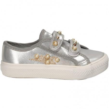 Sneakers argintii, cu scai, pentru copii