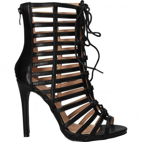 Sandale fashion, negre, cu toc inalt