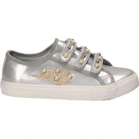 Espadrile argintii, cu perle, pentru fete