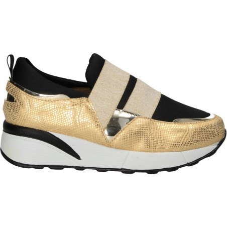 Sneakers dama, slip-on, auriu cu negru