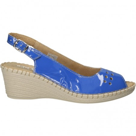 Sandale dama, din piele lacuita, cusute manual