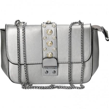 Poseta medie, argintie, glamour, cu perle