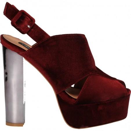 Sandale din catifea bordo, cu toc inalt