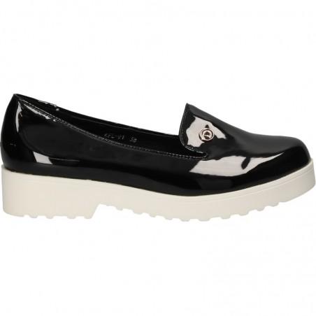 Pantofi trendy, din lac negru, pentru femei