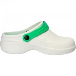 Saboti medicali, din spuma, alb cu verde