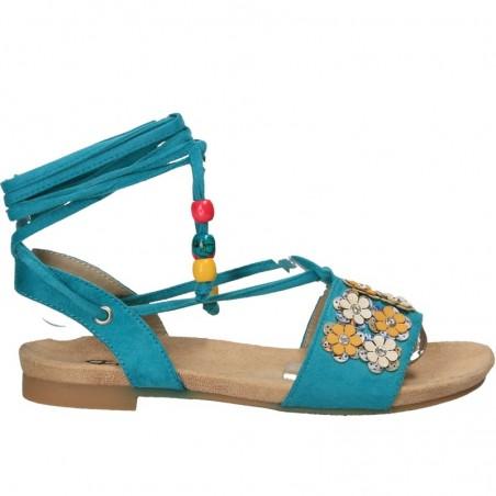 Sandale moderne, florale, cu siret pe picior