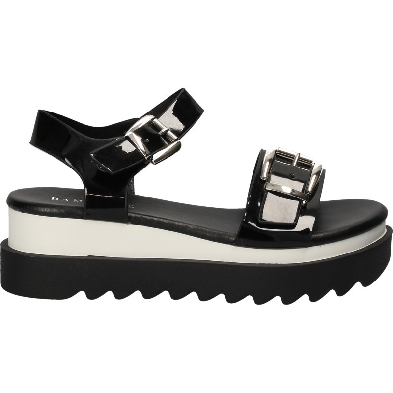Sandale fashion, lac negru, cu platforma