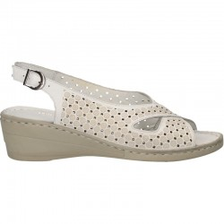 Sandale albe, platforma, piele naturala