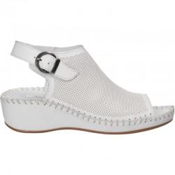 Sandale albe, fashion, de dama, piele naturala
