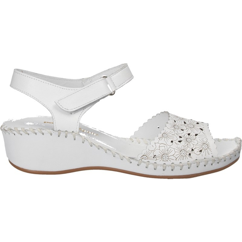 Sandale florale din piele