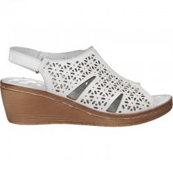 Sandale clasice, albe, din piele, pentru femei