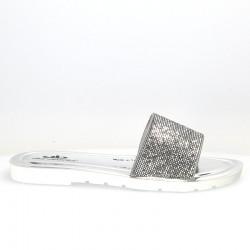 Saboti argintii, glamour, cu strasuri