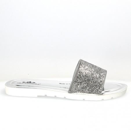 Papuci argintii, glamour, cu strasuri