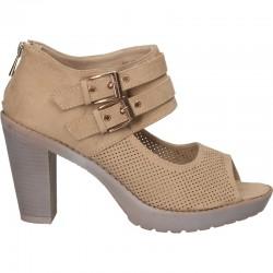Sandale fashion, maro, cu toc inalt