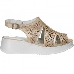 Sandale glamour, reflexe aurii, piele