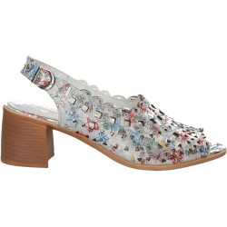 Sandale glamour, florale, piele naturala