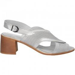 Sandale elegante, toc mediu, din piele