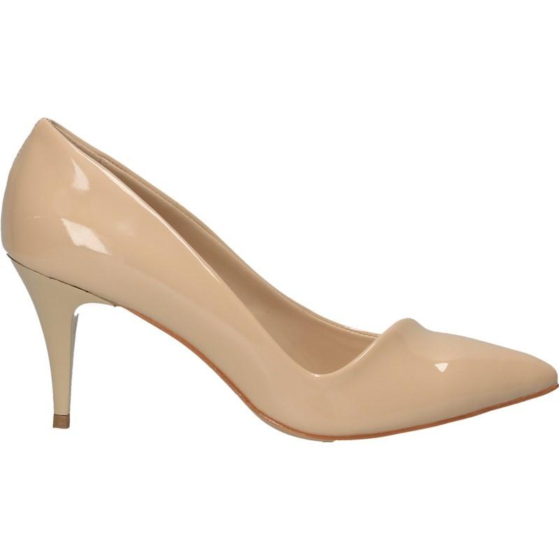 Pantofi dama, bej, de lac, stil elegant