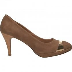 Pantofi bej, element auriu, toc inalt