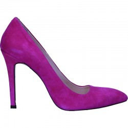 Pantofi fuxia, din piele, toc stiletto
