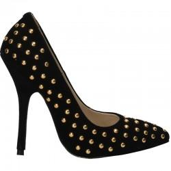 Pantofi piele velur, toc inalt, tinte aurii