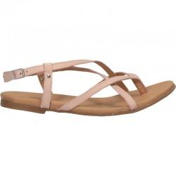 Sandale trendy, fara toc, piele roz