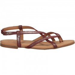 Sandale flip flops, bordo, piele naturala