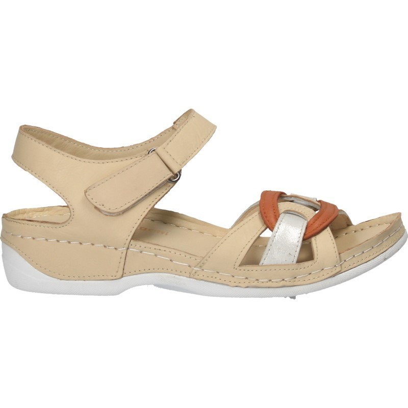 Sandale moderne, bej, piele naturala